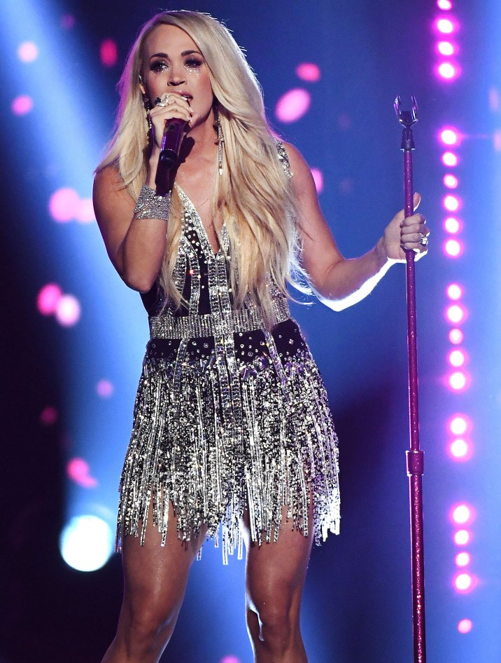 LAS VEGAS, NV - APRIL 15: Carrie Underwood performs onstage during the 53rd Academy of Country Music Awards at MGM Grand Garden Arena on April 15, 2018 in Las Vegas, Nevada. (Photo by Ethan Miller/Getty Images)